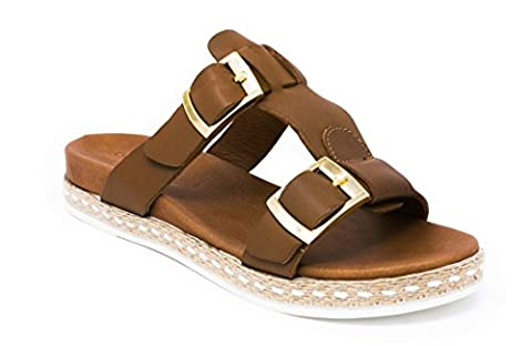 BOBERCK Isla Collection Women's Leather Slides Sandals Espadrille (9 US, Tan)
