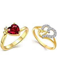 Lady Touch Jewellery Combo Of Beautiful Heart Gold & Rhodium Plated American Diamond CZ Rings For Girls And Women_Adjustable...