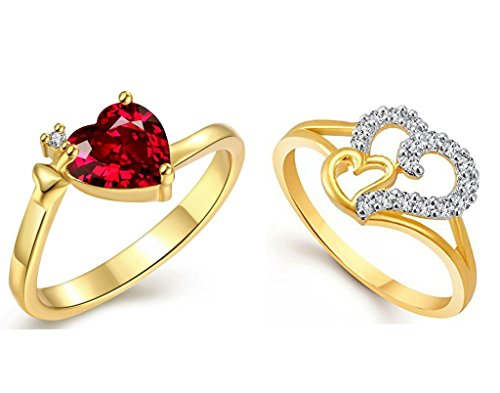 Lady touch Jewellery Combo of Beautiful Heart Gold & Rhodium Plated American Diamond CZ Rings For Girls And Women_Adjustable (Free Size)
