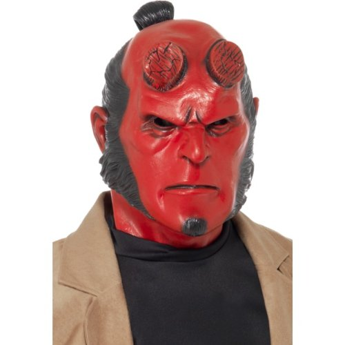 Hörner Hellboy Kostüm - Halloween Zubehör Hellboy Maske zum Teufel Dämon Kostüm