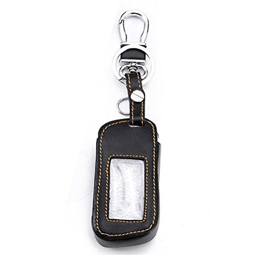 VORCOOL Leder Autoschlüssel Fall Abdeckung Halter Auto Alarm Fernbedienung LCD Keychain Abdeckung Brieftasche für Starline A93 A63 (Brown Gewinde) (Remote Alarm Fall)