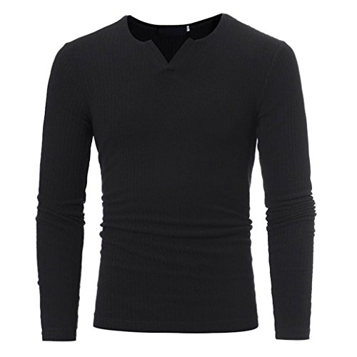 Männer Pullover VENMO Tops Men's Loose Casual Baumwoll-Shirt Cotton Tee long Sleeves T-Shirts Man's Herbst Winter Bluse Casual V-Neck Männer Slim Pullover Tops (L, Black) (V-neck Double-knit)