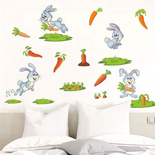 LEELIYA Karotten Wandaufkleber Kinderzimmer Dekoration Kinder Geschenk Tiere Wandbild Art DIY Home Decals -