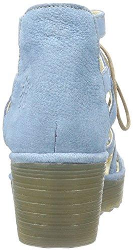 FLY London Yeli719, Sandales Bout Ouvert Femme Bleu (Smurf 006)