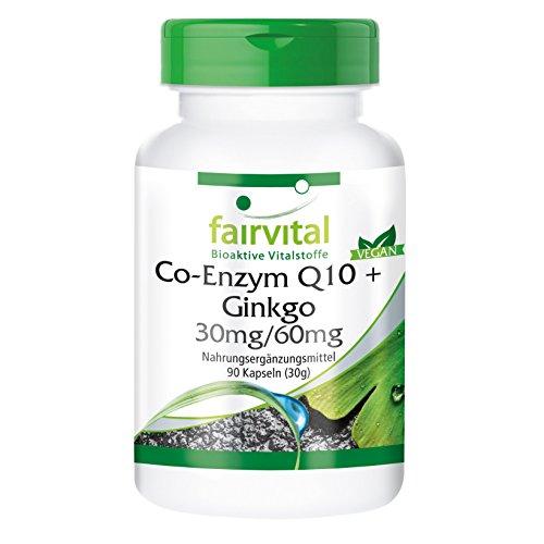 fairvital - Co-Enzima Q10 con Ginkgo - 90 cápsulas - con 30 mg de coenzima Q10 y 60 mg de extracto de ginkgo biloba