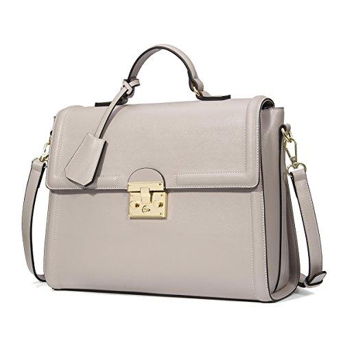 Kadell Frauen Luxus Leder Designer Handtaschen Dame Schulter Tasche Business Aktenkoffer Grau (Schulter Tasche Organizer)