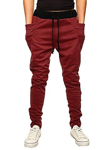 HEMOON Homme Pantalon de sport/jogging Sarouel Fitness Loose Crotch pants