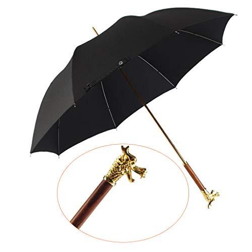 ZYLL Manueller Langer Griffregenschirm, Hahntierentwurfsgriffregenschirmgeschäftsregen-Sonnenschutzregenschirm