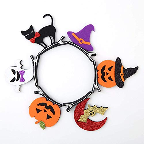 Halloween Haarspangen, 6pcs Kinder Haarnadel Haarschmuck, Kürbis-Bat Ghost Black Cat Hexenhut Halloween Make Up Party Cosplay (Kopfbedeckungen für Kinder)