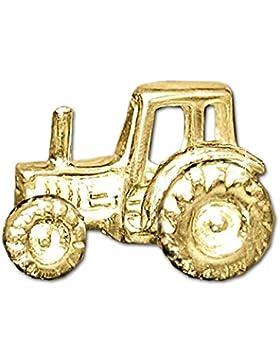 CLEVER SCHMUCK Goldener einzelner Single Ohrstecker Traktor 9 x 6 plastisch ausgeprägt und glänzend 333 GOLD 8...