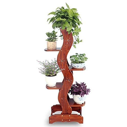 Support de pot de fleur en bois massif avec support de pot de fleur en radis vert, 5 étagères, pin, 50x32x136cm