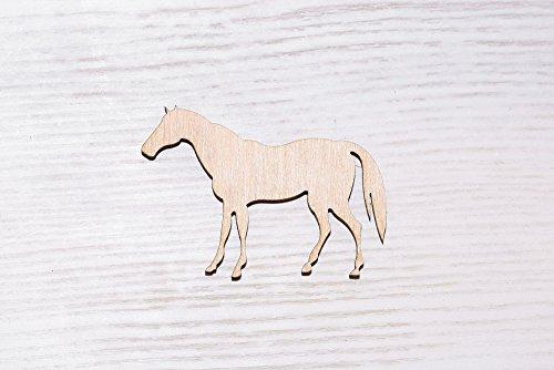 Set of 10 laser-cut wooden horses, wood trimmings, plywood figure, handmade wood decoration unpainted decorations (EW0079), 10 cm