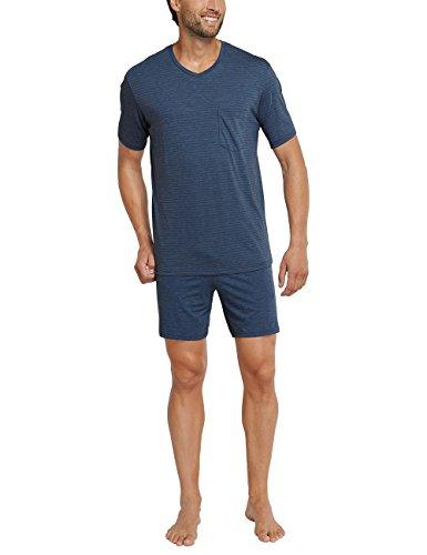 Schiesser Herren Zweiteiliger Schlafanzug Funktionswäsche Anzug Kurz Blau (Dunkelblau 803)
