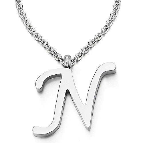 Name Initiale Alphabet Buchstaben N Anhänger Edelstah Halskette für Damen Herren Farbe Silber mit 50cm Stahl Seil-Kette