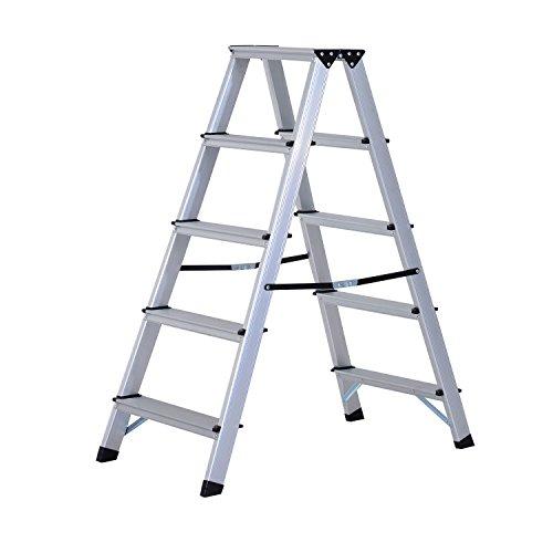 HOMCOM Trittleiter Aluleiter Stehleiter Klapptritt Doppelleiter Haushaltsleiter Leiter Stufenleiter 3 – 5 Stufen (5 Stufen)