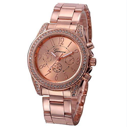 CJWANXF Damenuhr Damenuhren Edelstahl Kristall Gold Uhr Damenuhr Feminino Armbanduhren, Rose Gold