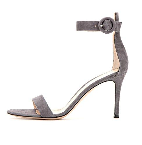 EDEFS Femme Chaussures Bout Ouvert Stiletto 8cm Talon Sandales à Bride de Cheville DaimGray