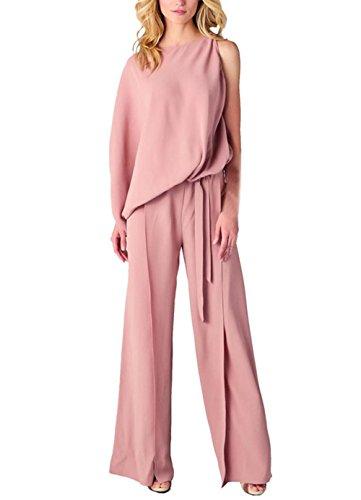 Hirolan Frau Unregelmäßig Spielanzug Hose Overall Breit Bein Hose (Rosa, S) (Womens Cross T-shirt Fitted)