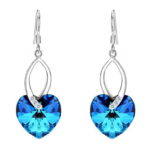 Clearine orecchini donna con argento cerimonia nuziale elegante cz amore cuore dell'oceano ispirato ciondola gli orecchini ornata con cristallibermuda blu