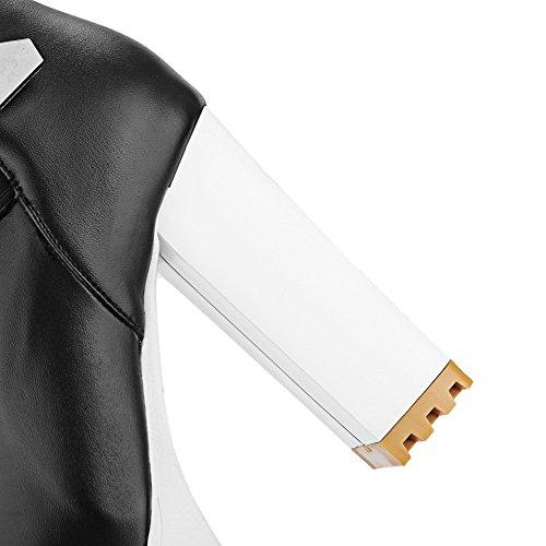 VogueZone009 Donna Bassa Altezza Puro Cerniera Tacco Alto Stivali con Metallo Nero