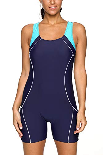 ug Damen Racerback Schwimmanzug Mit Bein Einteiler Bademode Badeanzüge Boyleg Blau M ()