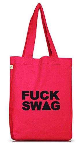 Shirtstreet24, FUCK SWAG, Swagger Rap Hip Hop Money Jutebeutel Stoff Tasche Earth Positive Hot Pink