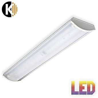 Kwazar Leuchte Vega Plafonnier à 2tubes LED de 18W IP20Luminaire Lampe de bureau Plafonnier de cave Plafonnier de garage
