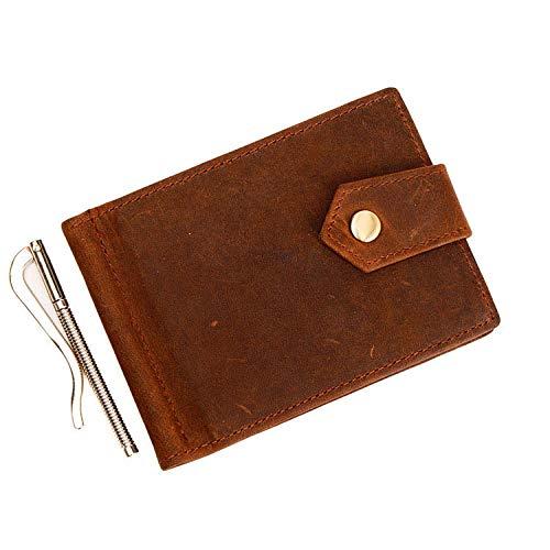Chw.C1 Geldbörse Herren tüv geprüft RFID Brieftasche kartenetui geldclip schlank Portemonnaie Wallet Leder geldbörse Herren Retro RFID Dollar Clip kurz@Khaki