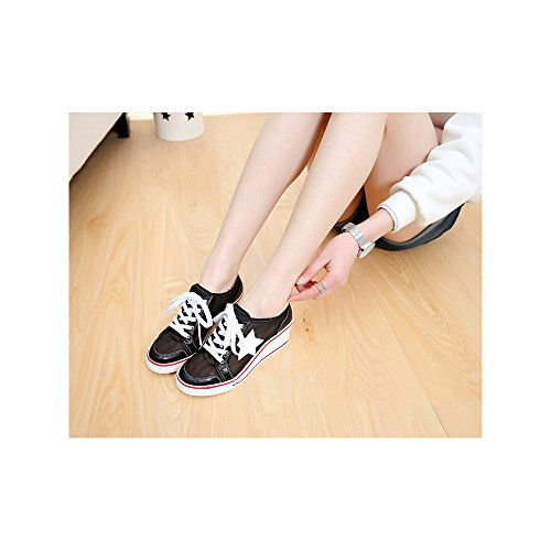 Femme Baskets Mode en Toile Talon Compensé Chaussures de Sport Fermeture Lacets #7 Noir