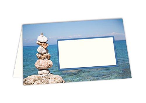 25 Stück maritim blau weiß türkis STEIN-SÄULE Meer Tischkarten Namens-Schilder Sitzkarten Platzkarten Namens-Kärtchen für JEDEN Stift! Ideal zum Geburtstag, Hochzeit, Kommunion, Taufe