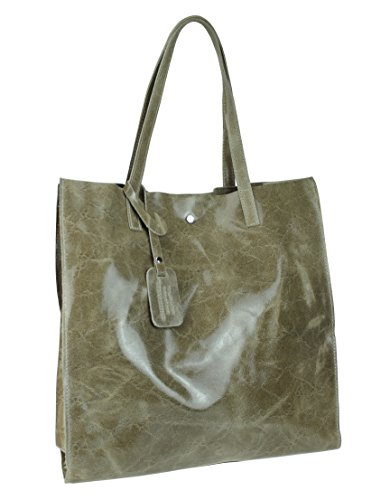 bag2basics Shopper XL aus echtem Leder | Italienisches Design (B 37,5 x H 40 x T11) taupe marmor