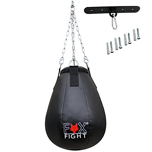 FOX-FIGHT Maíz Bombilla pera de boxeo Meis pera de boxeo saco de boxeo de piel sintética (relleno) negro