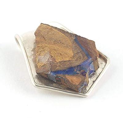 Pendentif de boulder opale australienne en forme triangulaire serti d'argent 925, 27x23x5 mm env.