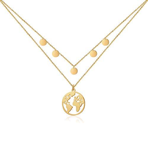 Good.Designs ® Weltkette mit 5 Coin Choker für Frauen | Mädchen Gold goldene goldfarben goldenekette kettegold Damenschmuck Frauenkette Halskette Kette Women Design Tumbler