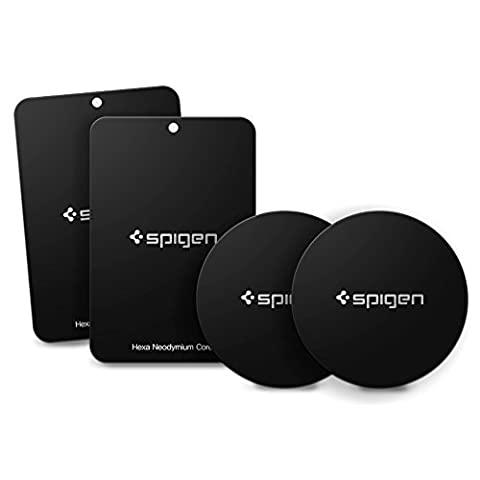 Metal plates, Spigen Kuel [4 Pack] Universal Metal Pates for Magnetic Car Mount Car Phone Holder with 3M Adhesive, 2 Round 2 Rectangle (Compatible with Spigen magnetic mounts and other Magnectic Air Vent Phone Holders)- A210