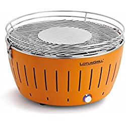 LotusGrill Holzkohlengrill Serie 340, Farbe Mandarine, 35 x 26 x 23.4