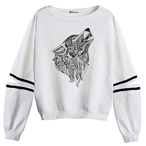 So'each Women's Wolf Animal Print Stripes Casual Sweater Pullover Sweatshirt (Baumwolle Mantel Tiger Stripe)