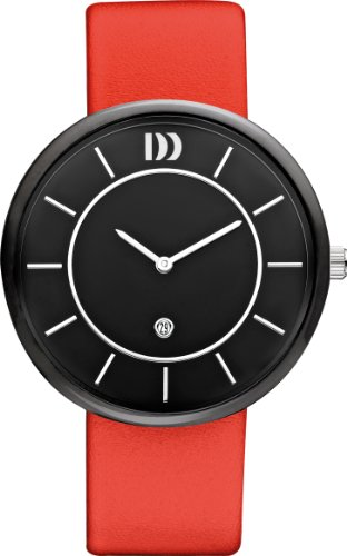 Danish Design Men's Quartz Watch with Black Dial Analogue Display and Red Leather Bracelet DZ120230
