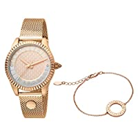 Just Cavalli Rose Gold Dial Stainless Steel Analog Watch Bracelet Set For Women