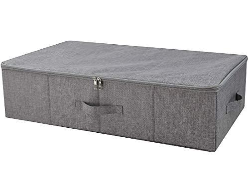 Dreiseitiger Reißverschluss-Abdeckungs-Korb, zusammenklappbarer Unterbett-Aufbewahrungsbehälter für Decken, Deckbetten, Deckbetten usw. Dunkelgrau