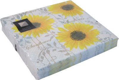 40 LUXURY 3 PLY YELLOW PATTERN SUNFLOWER PAPER NAPKINS- 33cm x 33cm Ideal for weddings, christenings, parties, bbq's etc FREE