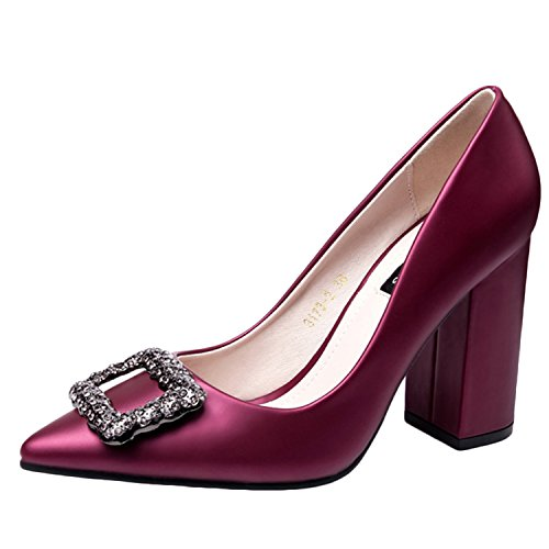 Oasap Women's Pointed Toe Rhinestone Chunky Heels Slip on Pumps Burgundy