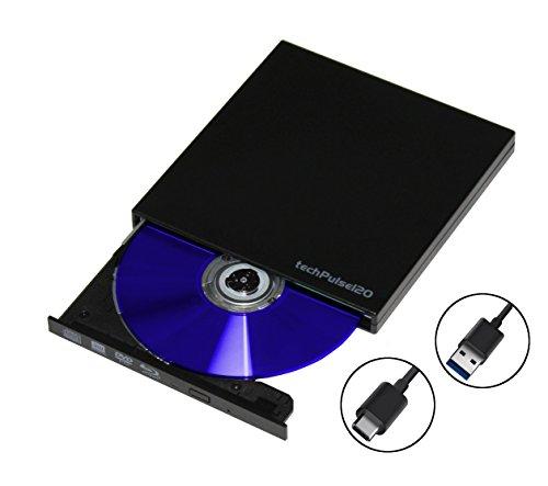 techPulse120 USB Type C & 3.0 externes Blu-ray Brenner M-Disc BDXL Laufwerk 3D Burner Superdrive Blueray BD DVD CD Ultra Slim für Computer Notebook Ultrabook Windows Mac OS Apple iMAC Macbook