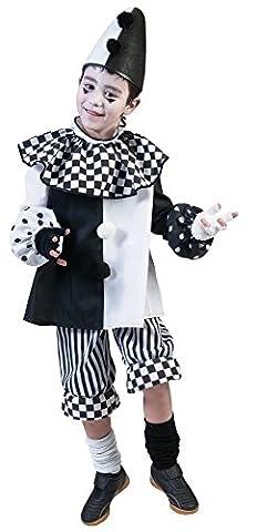 Pierro´s Kostüm Harlekin Kind Clown Kinderkostüm / Mädchenkostüm / Jungenkostüm Oberteil Hose Größe 98 104 116 128 140 152 164 für Karneval, Fasching, Halloween, Motto Party / Clowns,