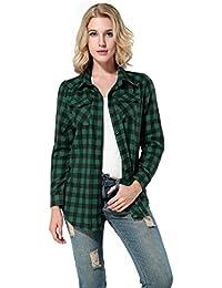 Yidarton Femme Chemise à Carreaux Manches Longues Shirt Blouse Boutonnière Tops