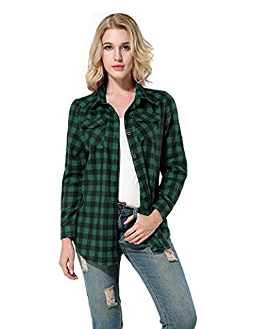 Yidarton Chemise Carreaux Femme Manche Longue Cotton Décontractée Blouse Shirt (Medium, Vert)