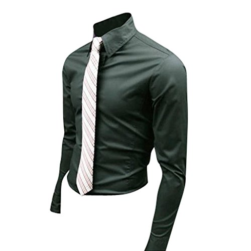 jeansian Herren Freizeit Hemden Shirt Tops Mode Langarmshirts Slim Fit 8504 Blackish Green