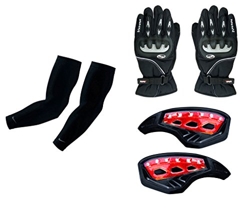 Auto Pearl Premium Quality Bike Accessories Combo Of Arm Sleeve for Protection against Sun, Dust and Pollution Black 2 Pcs. & Vemar 1 Pair of Full Hand Grip Gloves for Bike Motorcycle Scooter Riding - (Black) & Monster 7/8