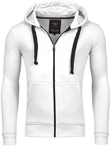 Young & Rich Hoodie Sweatjacke Herren Jacke Basic Sweater Sweatshirt Uni Hoody Kapuzenpullover Pullover mit Kapuze in der Farbe Weiss M