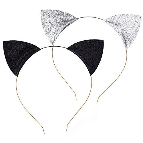 Diademas de Orejas de Gato Brillante Hebillas de Pelo para Fiesta y Vestido Diario, Negro y Plateado, 2 Piezas